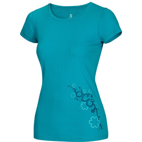 Ocun Blooms T-Shirt Femme, baltic blue